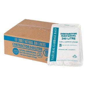 240L Contractor Clear Garbage Bags
